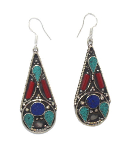 Turquoise Coral lapis drop earrings - Yaslai - 1