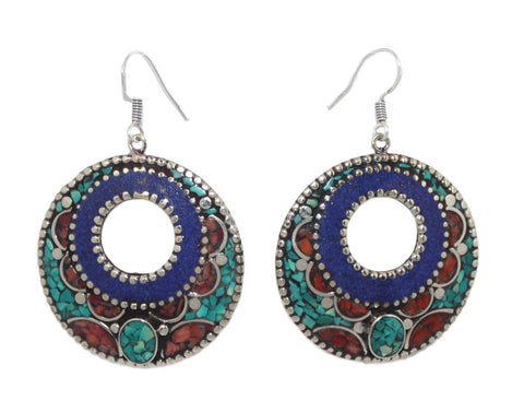 Turquoise flower earrings - Yaslai - 1