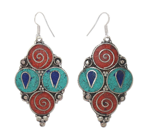 Four circles coral turquoise earrings - Yaslai - 1