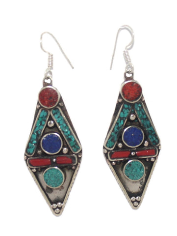 Turquoise coral lapis dots earrings - Yaslai - 1