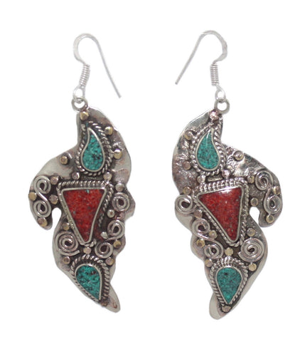 Copy of Turquoise coral lapis dots earrings - Yaslai - 1