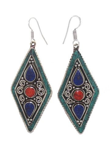 Bohemian turquoise earrings - Yaslai - 1