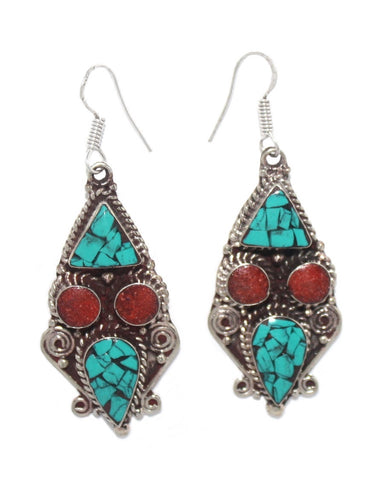 Turquoise Coral earrings - Yaslai - 1