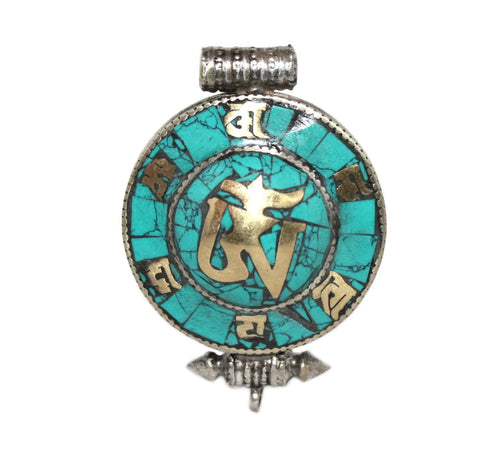 turquoise yoga Gau prayer box pendant - Yaslai - 1