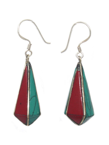 Turquoise Coral Lapis drop earring - Yaslai - 1