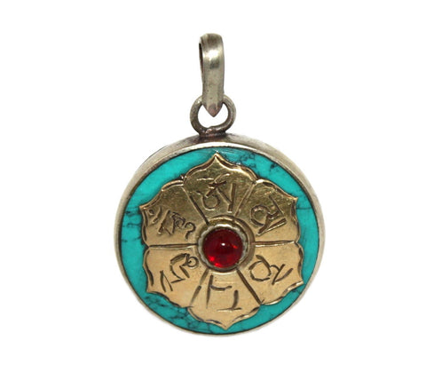 turquoise quartz Gau prayer box pendant - Yaslai - 1