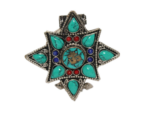 star turquoise Gau prayer box pendant - Yaslai - 1
