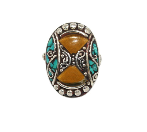 double amber gypsy ring - Yaslai - 1
