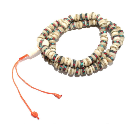 Small white Yak Bone meditation prayer beads - Yaslai - 1