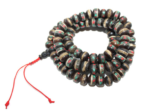 large Black Yak Bone meditation prayer beads - Yaslai - 1