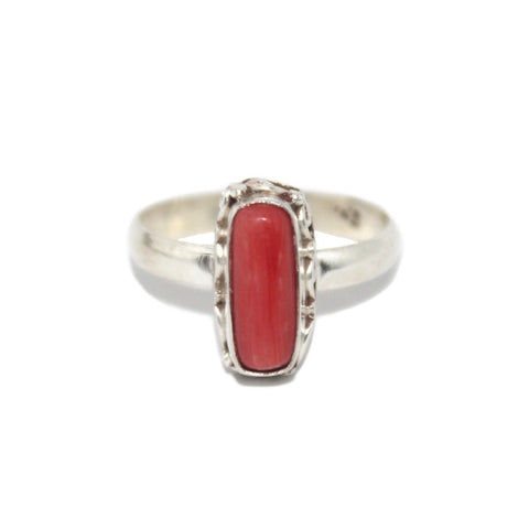 Coral Sterling Silver Ring - Yaslai - 1