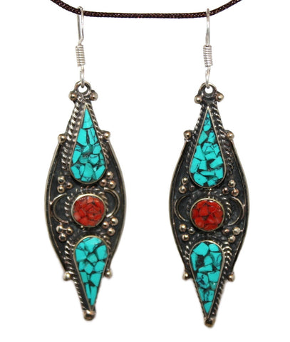 Long Coral dot turquoise Earring - Yaslai - 1