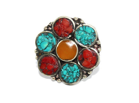 Amber Flower coral turquoise ring - Yaslai - 1