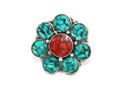 Flower coral turquoise ring - Yaslai - 1