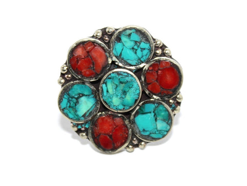 Flower coral turquoise rings - Yaslai - 1