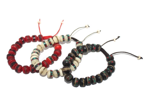 Three Yak bone Adjustable wrist mala Mala Bracelet Boho - Yaslai - 1
