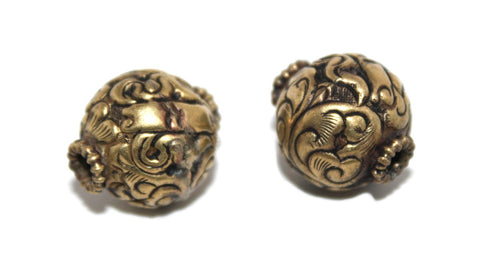 brass carved handmade beads - Yaslai - 1