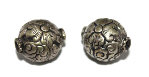 Silver plated carved handmade beads - Yaslai - 1