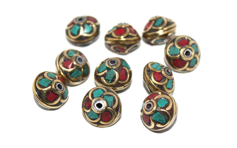 flower coral turquoise handmade nepalese beads - Yaslai - 1