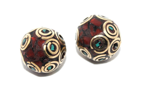 Two coral turquoise handmade nepalese beads - Yaslai - 1