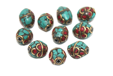 layer coral turquoise ethnic beads - Yaslai - 1