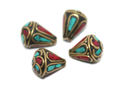 Earring coral turquoise ethnic beads - Yaslai - 1