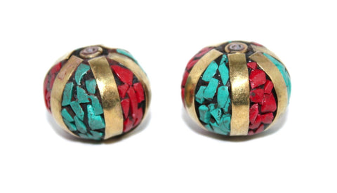 Ball turquoise coral beads - Yaslai - 1