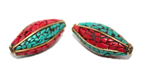 long turquoise coral beads - Yaslai - 1