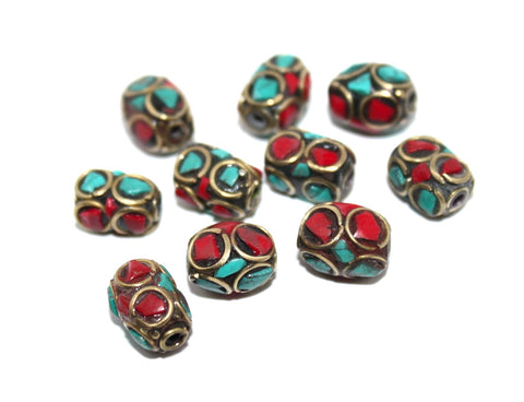 turquoise, coral beads - Yaslai - 1