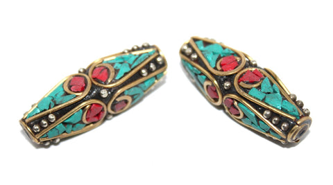 large two turquoise, coral beads - Yaslai - 1