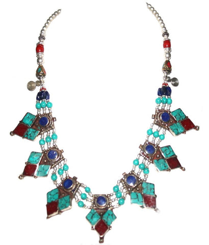 Turquoise Necklace Lapis Necklace Coral Necklace Tibetan Necklace Boho Necklace NEC100 - Yaslai - 1