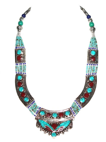 Turquoise Necklace Coral Necklace Tibetan Necklace NP1 - Yaslai - 1