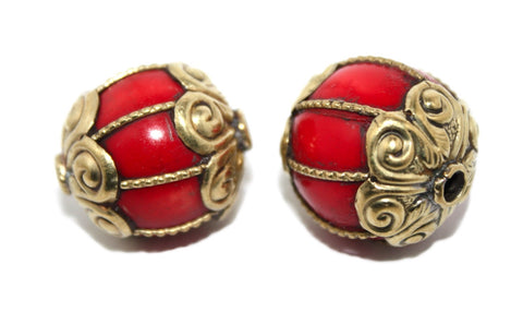 Red bone tibetan handmade beads - Yaslai - 1