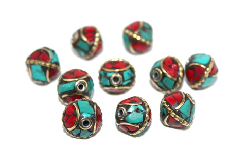 Small Turquoise Coral Nepalese beads - Yaslai - 1