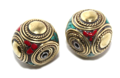 Brass coral turquoise Nepal beads - Yaslai - 1
