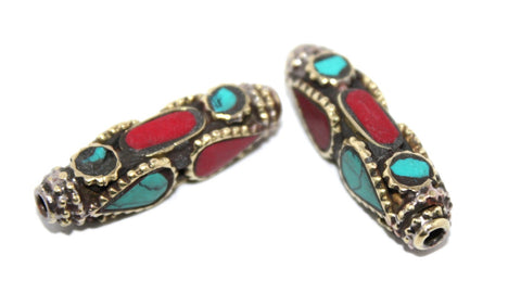 Long hippie Coral turquoise Nepal beads - Yaslai - 1