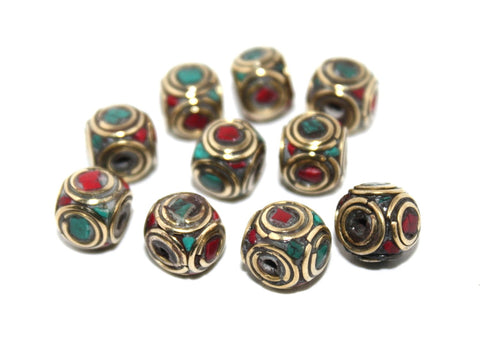 Square coral Turquoise Nepal beads - Yaslai - 1