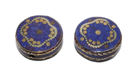 brass and lapis handmade beads - Yaslai - 1
