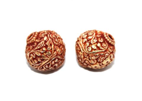 carved gold beads - Yaslai - 1