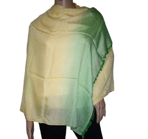 Yellow Green Ombre Bamboo scarf - Yaslai - 1
