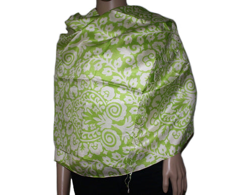 Neon green floral print Bamboo scarf - Yaslai - 1