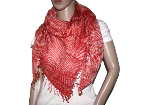 Square Orange stripe Bamboo scarf - Yaslai - 1
