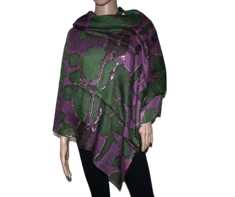 green Purple Bamboo scarf - Yaslai - 1