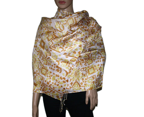 Yellow brown Bamboo scarf - Yaslai - 1