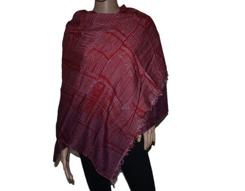 Red stripes Bamboo scarf - Yaslai - 1