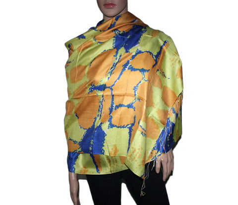 Green Orange Blue Bamboo scarf - Yaslai - 1