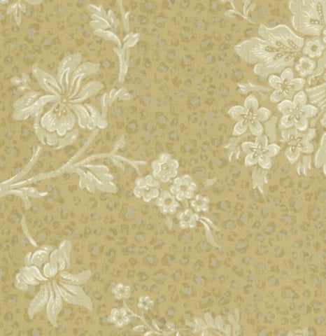 Brewster Beige, Camel Leopard Print with Damask Wallpaper - 48334