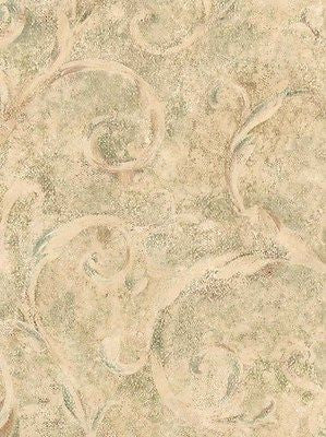 Wallcrown Sage/Light Tan Scroll Wallpaper - IL42045