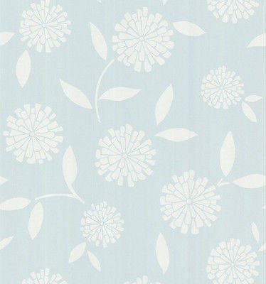Brewster Zinnia Light Blue Modern Floral Wallpaper - FD62119