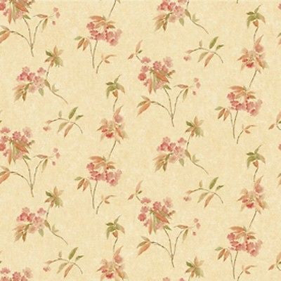 Sunworthy Cream Floral with Crackle Finish Wallpaper - EB064681